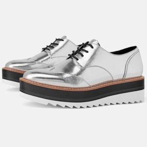 Silver, ZARA Leather Platform Derby Shoes